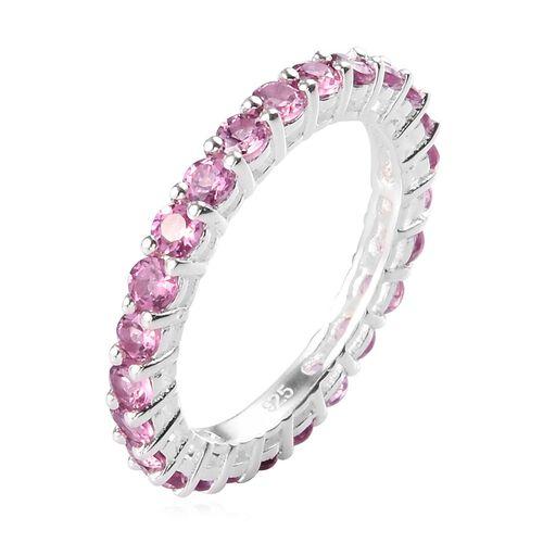 Lotus Garnet Eternity Ring in Sterling Silver 2.00 Ct.