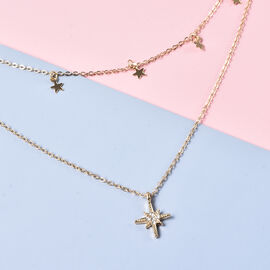 Austrian White Crystal Double Layer Star and Starburst Necklace (Size 16 with 4 inch Extender) in Gold Tone