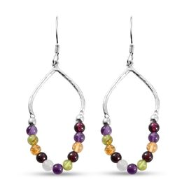 Amethyst , Multi gemstones Hook Earrings in Platinum Overlay Sterling Silver 12.000  Ct.