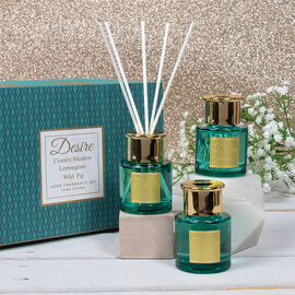 Lesser & Pavey - Desire Diffuser Set - Teal - Country Meadow, Lemongrass and WIld Fig