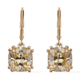 ELANZA Simulated Diamond Solitaire Drop Earrings in Gold Plated Silver