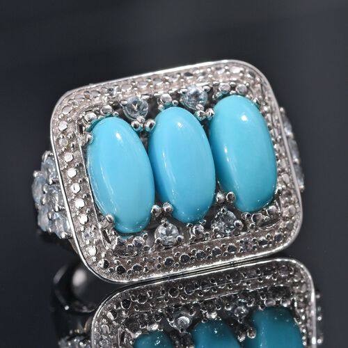 Arizona Sleeping Beauty Turquoise (Ovl), Sky Blue Topaz and Natural Cambodian Zircon Ring in Platinum Overlay Sterling Silver 4.250 Ct. Silver wt 5.74 Gms.