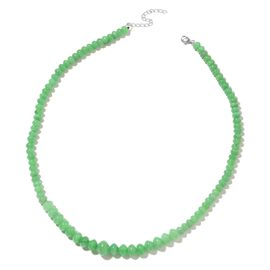 One Time Deal- Burmese Green Jade Necklace (Size 18 with 2 inch Extender) in Rhodium Plated Sterling Silver 172.000 Ct.