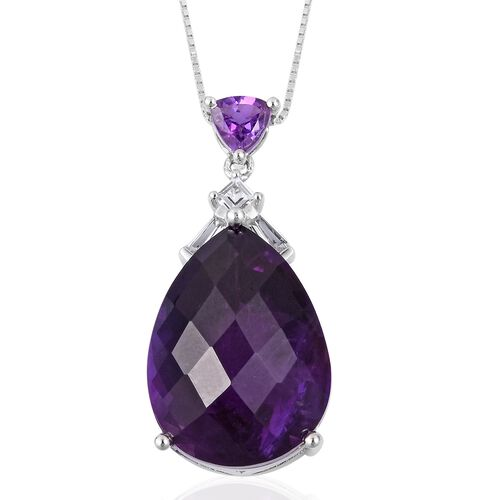 Lusaka Amethyst (Pear 17.25 Ct), White Topaz Drop Pendant with Chain (Size 18) in Rhodium and Platinum Overlay Sterling Silver 18.050 Ct.