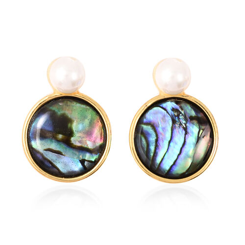 Abalone Shell and Simulated Pearl Drop Earrings in Yellow Gold Tone