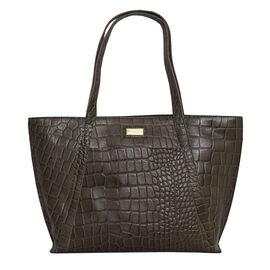Assots London AGNES Croc Embossed Genuine Leather Tote Bag with Zipper Closure (Size 33x11x26 Cm) -