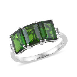2.85 Ct AAA Russian Diopside and Diamond Trilogy Ring in 14K White Gold 2.70 Grams