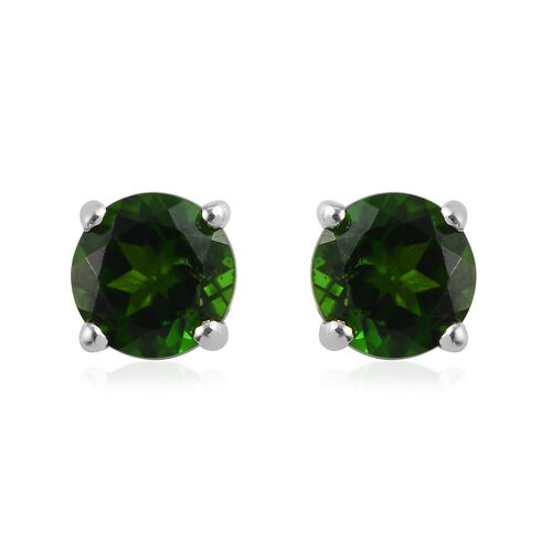 Russian Diopside Solitaire Stud Push Post Earring in Platinum Overlay Sterling Silver 0.23 ct  1.000