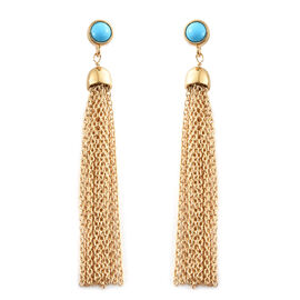 Arizona Sleeping Beauty Turquoise (Rnd) Earrings (with Push Back) in 14K Gold Overlay Sterling Silver 1.000 Ct
