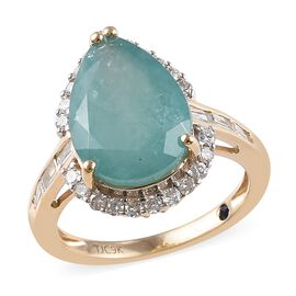 GP - 9K Yellow Gold AAA Grandidierite (Pear 14x10 mm), Diamond and Blue Sapphire Ring 5.75 Ct.