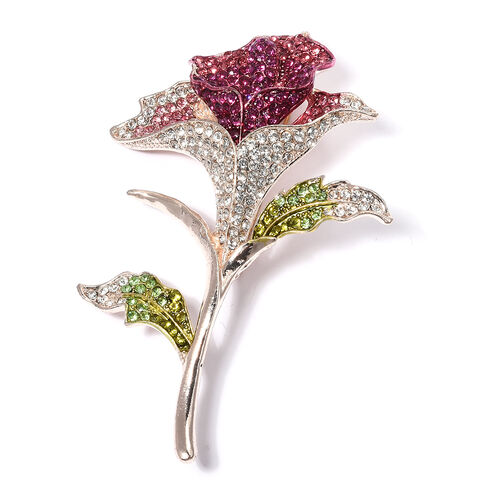 Multi Colour Austrian Crystal (Rnd) Lily Flower Brooch in Rose Tone