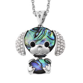 Abalone Shell and Black and White Austrian Crystal Puppy Pendant with Chain 24 Inch