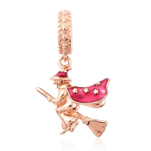Charmes De Memoire - Rose Gold Overlay Sterling Silver Enamelled Flying Witch Charm/Pendant
