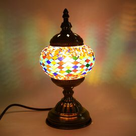 Handmade Turkish Mosaic Glass Table Lamp with Bronze Base (Size 30x11.5 Cm) - Multi