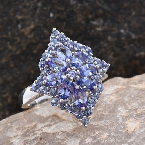 Tanzanite (Ovl) Floral Ring in Platinum Overlay Sterling Silver 3.250 Ct.