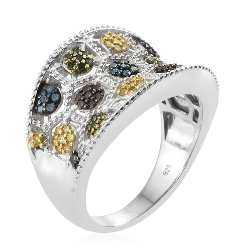 Yellow Diamond (Rnd), Red Diamond, Blue Diamond and Green Diamond Ring in Platinum Overlay Sterling Silver 0.753 Ct. Silver wt 7.94 Gms.