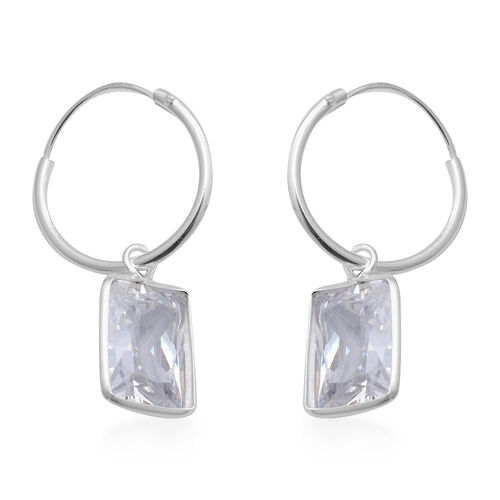 ELANZA - Set of 2 Simulated Diamond Hoop Earrings in Sterling Silver, Silver wt 4.00 Gms