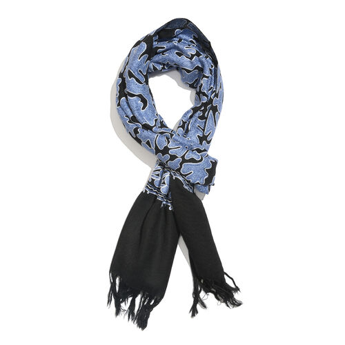 Very Limited Edition 100% Merino Wool Black, White and Blue Colour Hand Embroidered Scarf with Tasse