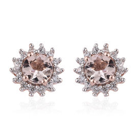 Marropino Morganite (Rnd), Natural Cambodian Zircon Earrings (with Push Back) in Rose Gold Overlay S