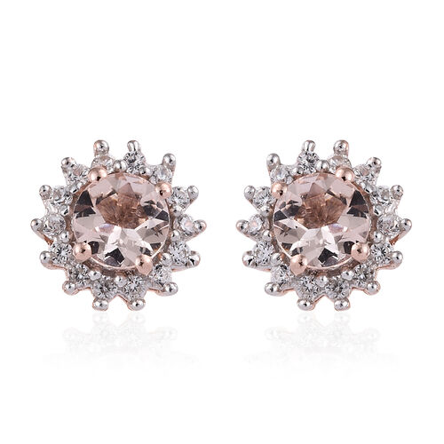 1.25 Ct Marropino Morganite and Zircon Halo Stud Earrings in Rose Gold Plated Silver