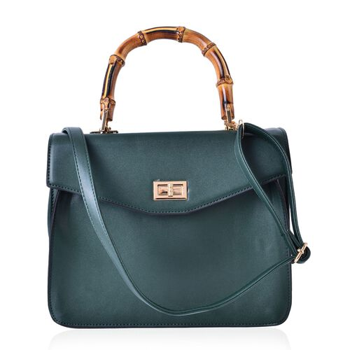 Bamboo Top Handle Green Colour Tote Bag with External Zipper Pocket and Adjustable and Removable Sho