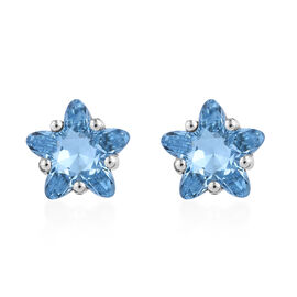J Francis - Crystal from Swarovski Aquamarine Colour Crystal Stud Earrings (with Push Back) in Platinum Overlay Sterling Silver