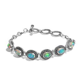 Artisan Crafted Ethiopian Welo Opal (Ovl) Bracelet (Size 6.5 to 7.5) in Sterling Silver 3.00 Ct, Sil