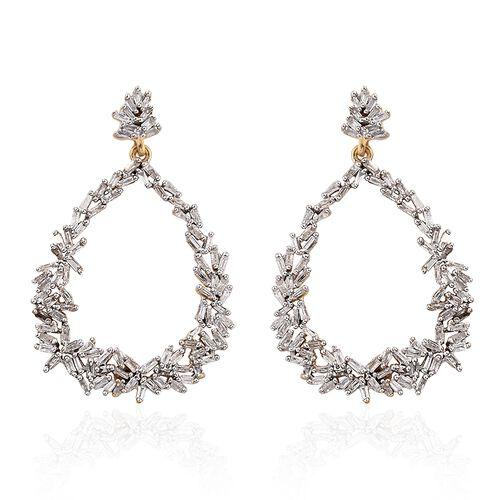 GP Diamond (Bgt), Kanchanaburi Blue Sapphire Drop Earrings (with Push Back) in 14K Gold Overlay Sterling Silver 1.040 Ct. Number of Diamonds 192