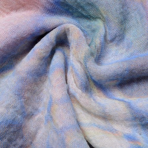 Sky Blue, Rose and Multi Colour Butterfly and Rose Flower Pattern Scarf (Size 180x90 Cm)