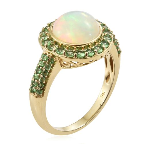 Collectors Editions 9K Yellow Gold AA Rare Size Ethiopian Welo Opal (Rnd 10mm) and AA Tsavorite Garnet Ring 3.250 Ct.