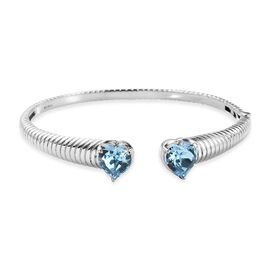 J Francis Crystal from Swarovski Aquamarine Colour Crystal Heart Bangle (Size 7.5) in Stainless Stee