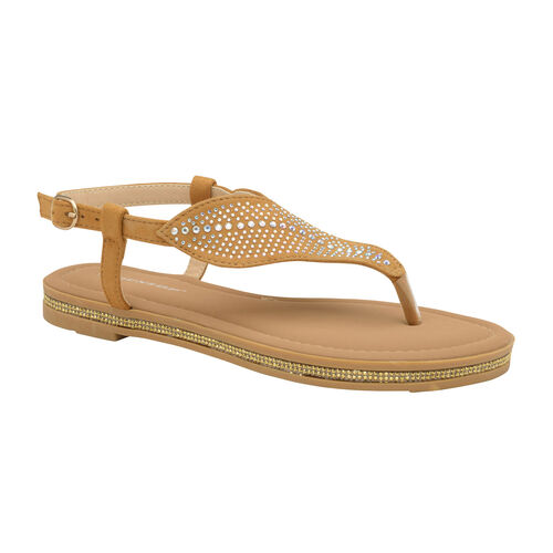 Dunlop Amy Toe Post Flat Sandals (Size 3) - Tan