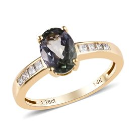 1.40 Ct AA Peacock Tanzanite and Diamond Solitaire Design Ring in 14K Gold 2.31 Grams
