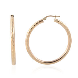 JCK Vegas Diamond Cut Hoop Earrings in 9K Gold 2.57 Grams with Clasp