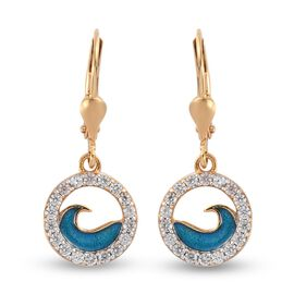 Natural Cambodian Zircon Earrings (With Enamelled) in 14K Gold Overlay Sterling Silver