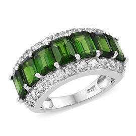 5.5 Ct Russian Diopside and Cambodian Zircon Half Eternity Ring in Sterling Silver 4.5 Grams