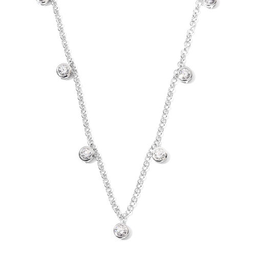J Francis Platinum Overlay Sterling Silver Station Necklace (Size 18) Made with SWAROVSKI ZIRCONIA,