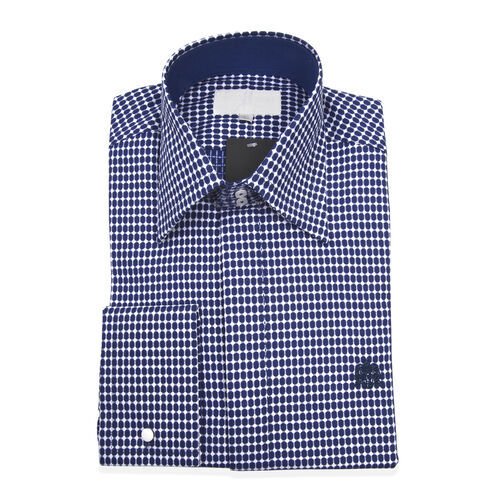 William Hunt - Saville Row Forward Point Collar Blue and White Shirt (Size 15)