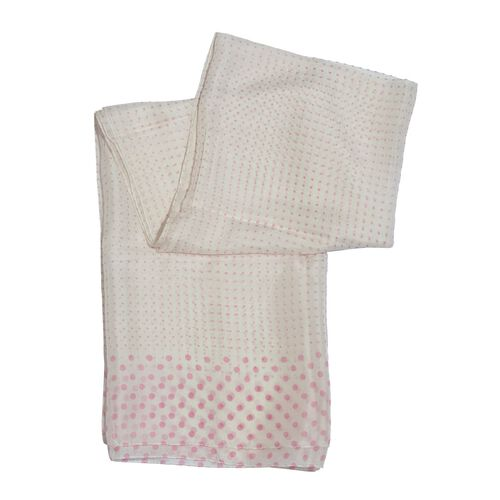 100% Mulberry Silk Pink Colour Polka Dots Pattern White Colour Scarf (Size 180x100 Cm)
