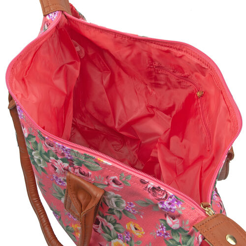 Close Out Deal - Pink and Multi Colour Flower Pattern Billie Travel Weekend Bag (Size 57x35x20 Cm)