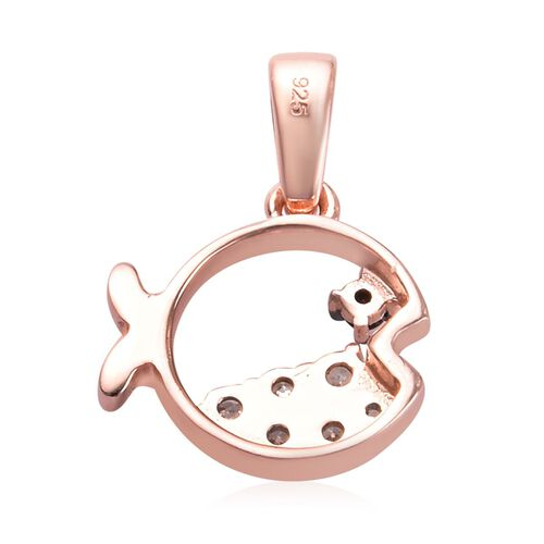 Boi Ploi Black Spinel and Natural Cambodian Zircon Fish Pendant in Rose Gold Overlay Sterling Silver 0.53 Ct.