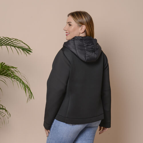 Winter Puffer Jacket with Hoodie in Classic Blackt (Size: M, 14-16)