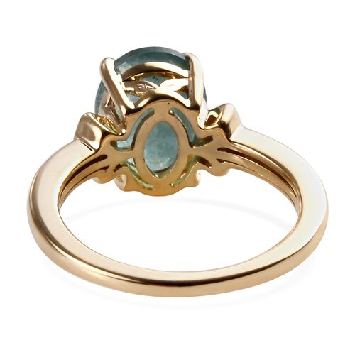 9K Yellow Gold AA Grandidierite (Ovl 10x8 mm), Diamond Ring 2.91 Ct.