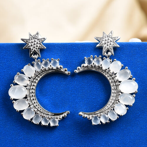 GP Sri Lankan White Moonstone and Blue Sapphire Crescent Moon and Star Earrings (with Push Back) in Platinum Overlay Sterling Silver 6.75 Ct.
