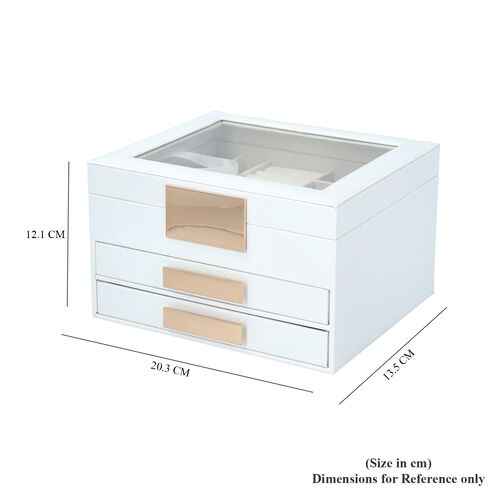Three Layer Anti-Tarnish Jewellery Box with Transparent Glass Window at Top in White
