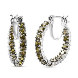 One Time Deal - Simulated Green Colour Diamond Hoop Earrings in Platinum Plated