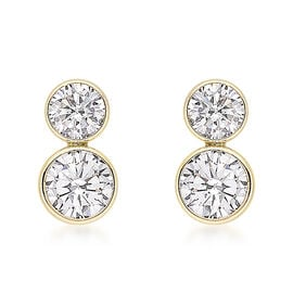 9K Yellow Gold Cubic Zirconia Stud Earrings (with Push Back)