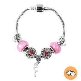 F Initial Charm Bracelet for Children in Simulated Pink Colour Bead, Red and White Austrian Crystal