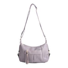 SENCILLEZ Genuine Leather Womens Crossbody Bag with Shoulder Strap - Grey