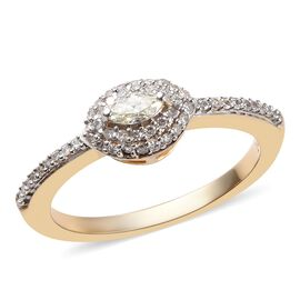 14K Yellow Gold SGL Certified Diamond (Mrq and Rnd) (I1-I2/G-H-I) Ring 0.33 Ct.